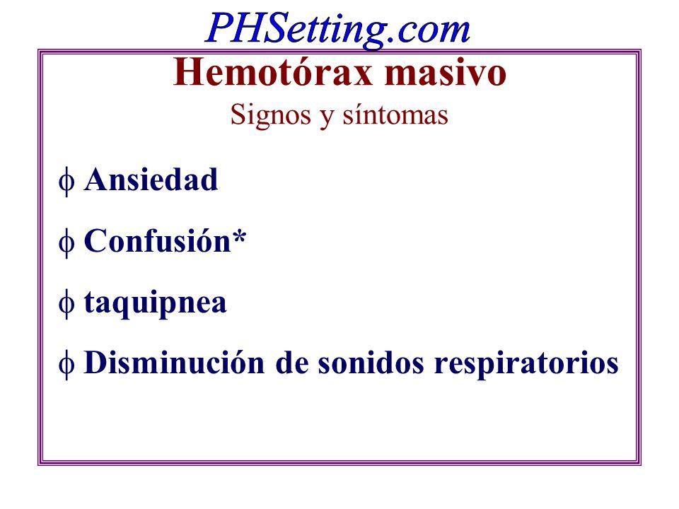 Hemotórax masivo Signos y síntomas Ansiedad Confusión* taquipnea Disminución de sonidos respiratorios