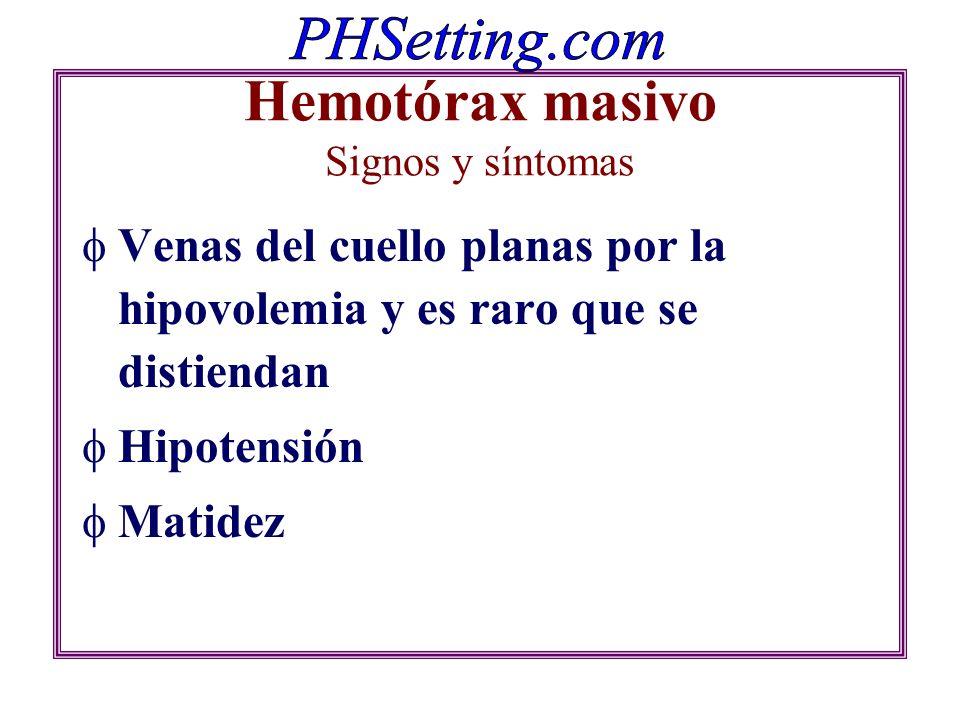Hemotórax masivo Signos y síntomas Venas del cuello planas por la hipovolemia y es raro que se distiendan Hipotensión Matidez