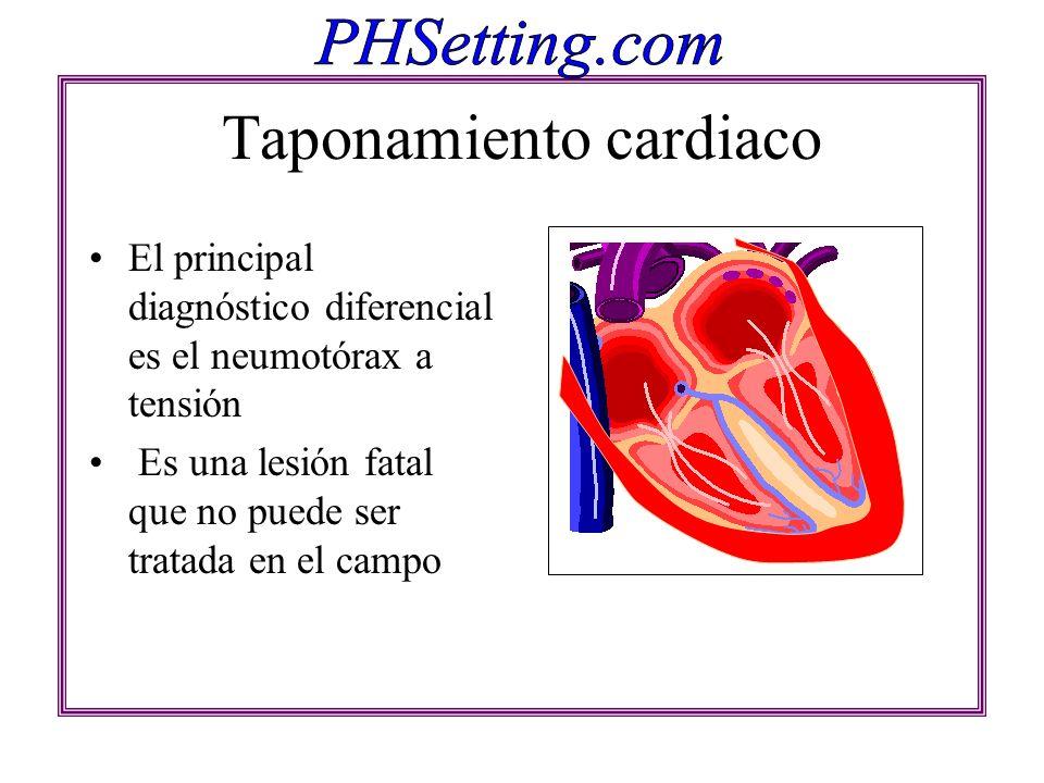 Taponamiento cardiaco El principal diagnóstico diferencial es el neumotórax a tensión Es una lesión fatal que no puede ser tratada en el campo