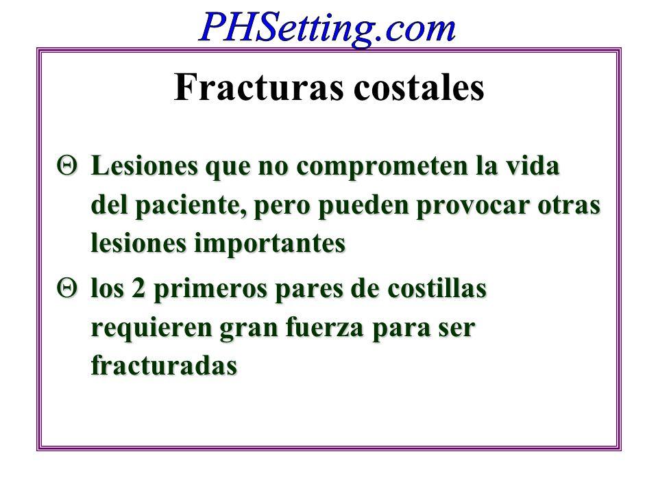 Fracturas costales Lesiones que no comprometen la vida del paciente, pero pueden provocar otras lesiones importantes Lesiones que no comprometen la vi