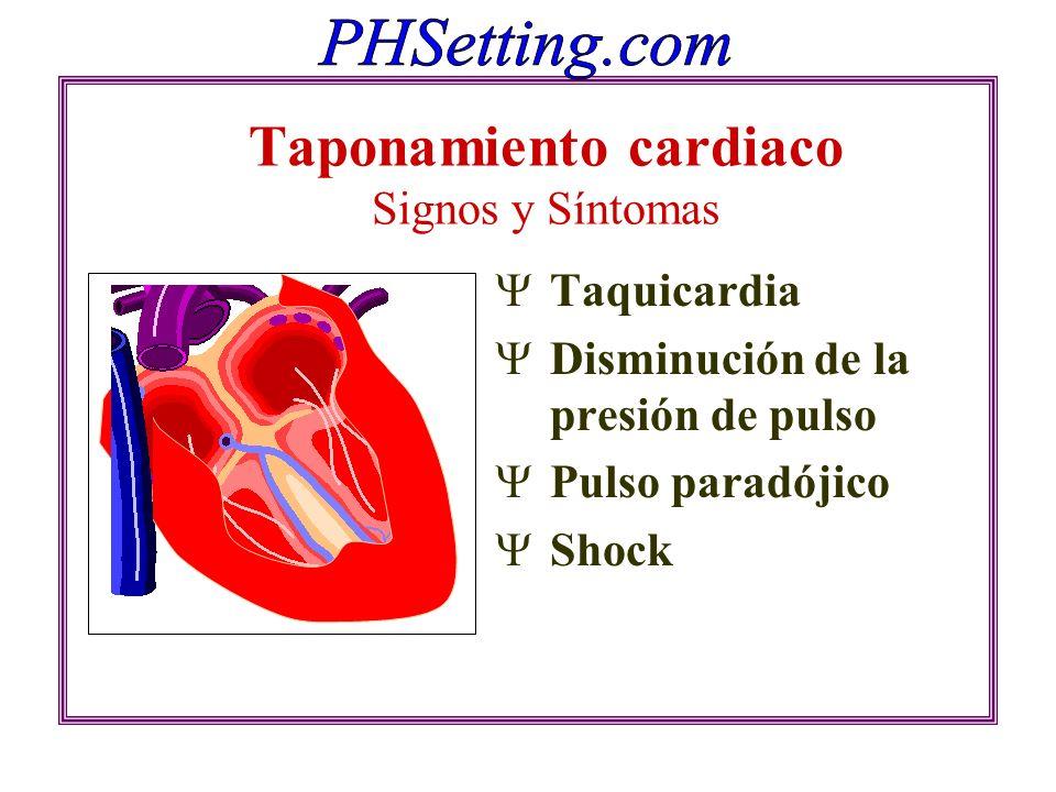 Taponamiento cardiaco Signos y Síntomas Taquicardia Disminución de la presión de pulso Pulso paradójico Shock