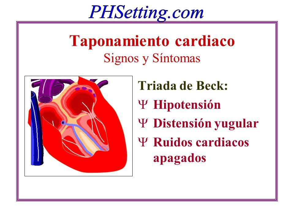Taponamiento cardiaco Signos y Síntomas Triada de Beck: Hipotensión Distensión yugular Ruidos cardiacos apagados