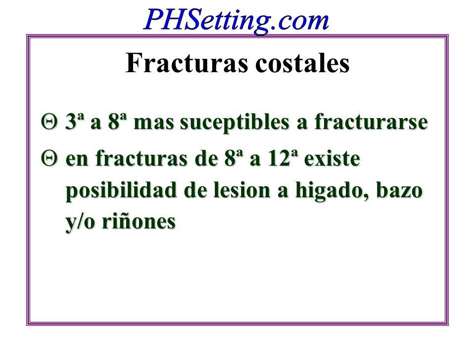 Fracturas costales 3ª a 8ª mas suceptibles a fracturarse 3ª a 8ª mas suceptibles a fracturarse en fracturas de 8ª a 12ª existe posibilidad de lesion a