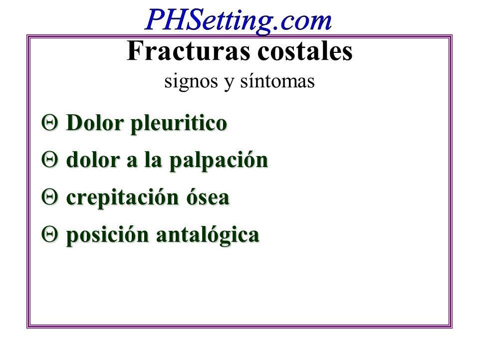 Fracturas costales signos y síntomas Dolor pleuritico Dolor pleuritico dolor a la palpación dolor a la palpación crepitación ósea crepitación ósea pos