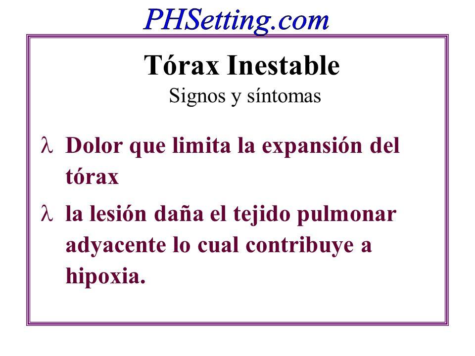 Tórax Inestable Signos y síntomas Dolor que limita la expansión del tórax la lesión daña el tejido pulmonar adyacente lo cual contribuye a hipoxia.