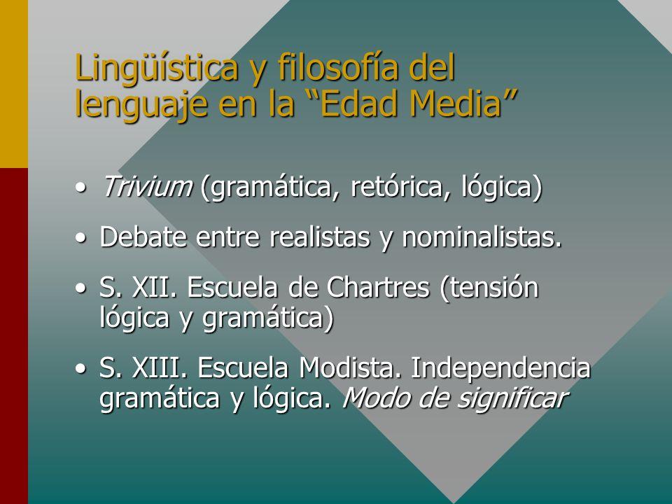 Lingüística y filosofía del lenguaje en la Edad Media Trivium (gramática, retórica, lógica)Trivium (gramática, retórica, lógica) Debate entre realista