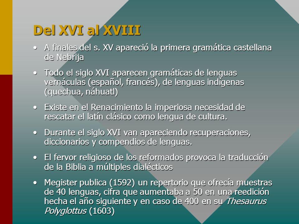 Del XVI al XVIII A finales del s. XV apareció la primera gramática castellana de NebrijaA finales del s. XV apareció la primera gramática castellana d