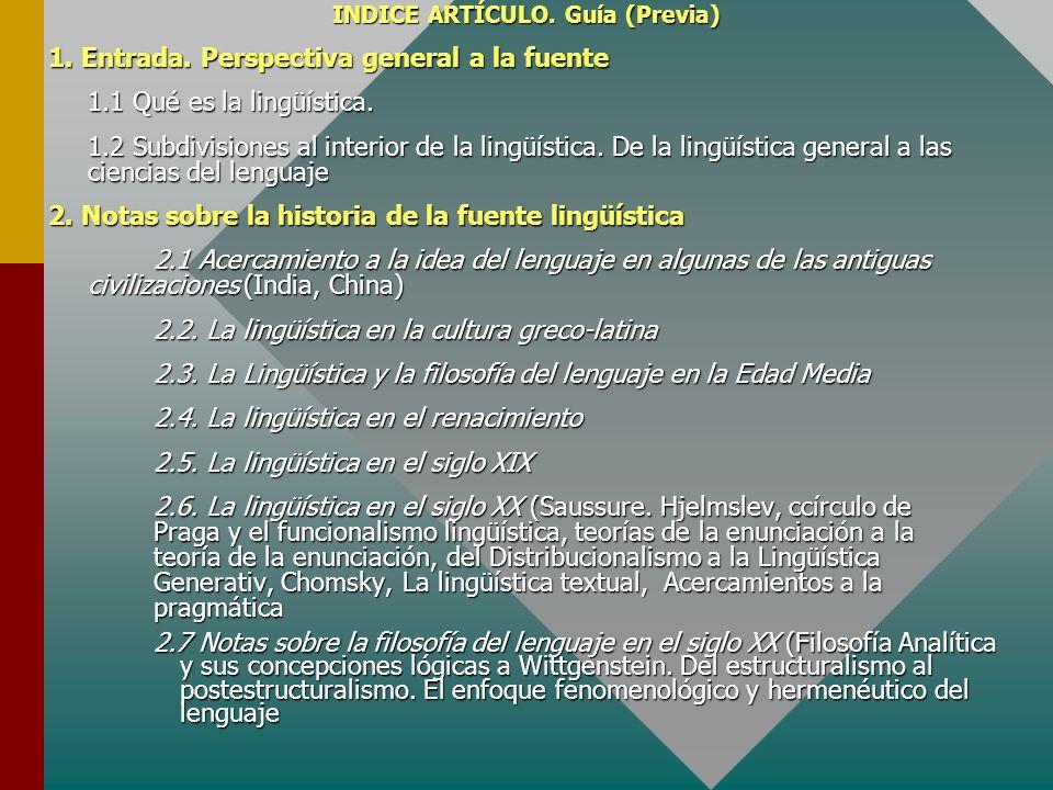 INDICE ARTÍCULO. Guía (Previa) 1. Entrada. Perspectiva general a la fuente 1.1 Qué es la lingüística. 1.2 Subdivisiones al interior de la lingüística.