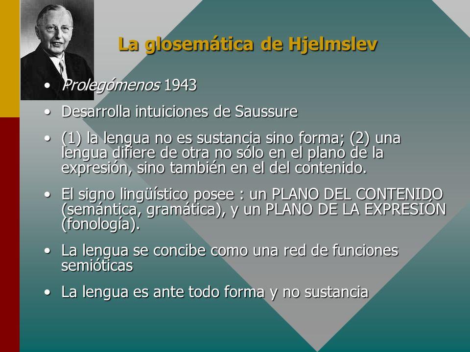 La glosemática de Hjelmslev Prolegómenos 1943Prolegómenos 1943 Desarrolla intuiciones de SaussureDesarrolla intuiciones de Saussure (1) la lengua no e