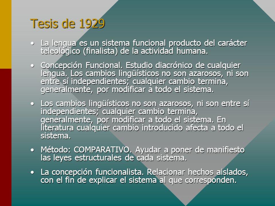 Tesis de 1929 La lengua es un sistema funcional producto del carácter teleológico (finalista) de la actividad humana.La lengua es un sistema funcional