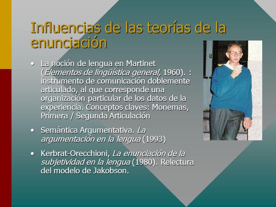 Influencias de las teorías de la enunciación La noción de lengua en Martinet (Elementos de lingüística general, 1960). : instrumento de comunicación d