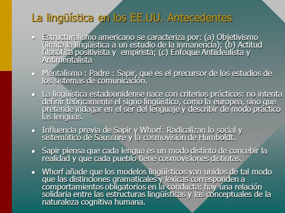 La lingüística en los EE.UU. Antecedentes Estructuralismo americano se caracteriza por: (a) Objetivismo (limita la lingüística a un estudio de la inma