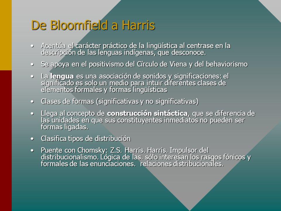 De Bloomfield a Harris Acentúa el carácter práctico de la lingüística al centrase en la descripción de las lenguas indígenas, que desconoce.Acentúa el