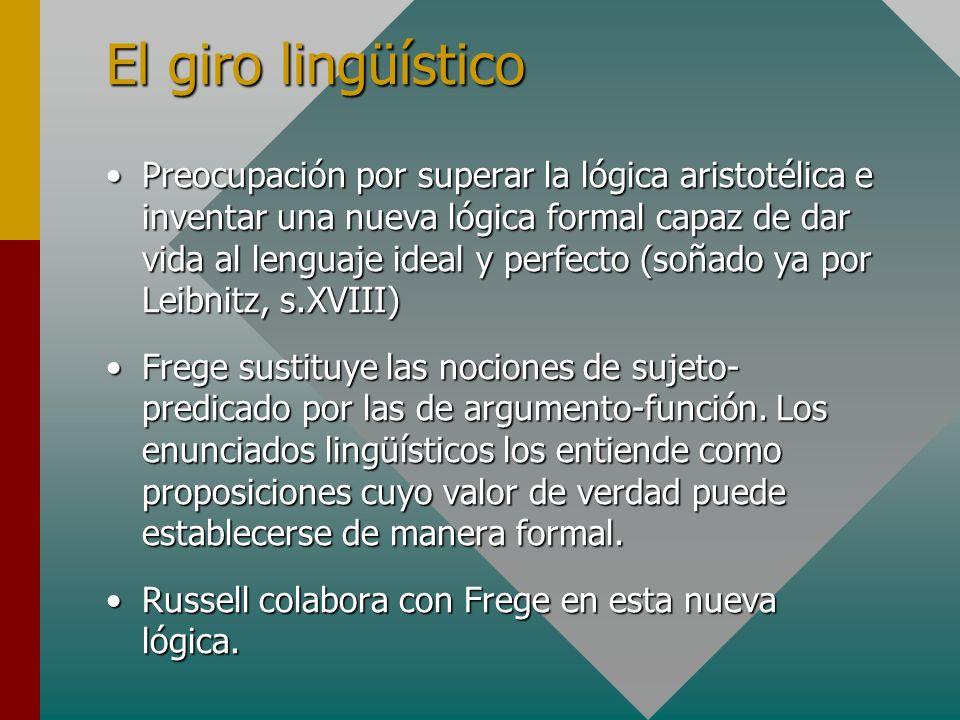 El giro lingüístico Preocupación por superar la lógica aristotélica e inventar una nueva lógica formal capaz de dar vida al lenguaje ideal y perfecto