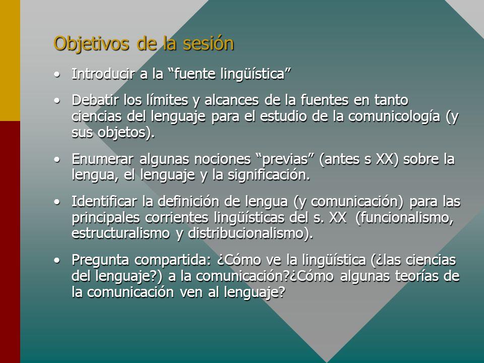 Objetivos de la sesión Introducir a la fuente lingüísticaIntroducir a la fuente lingüística Debatir los límites y alcances de la fuentes en tanto cien