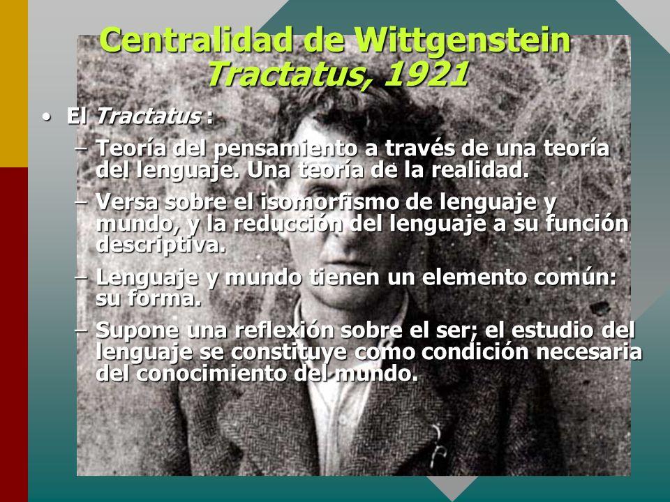 Centralidad de Wittgenstein Tractatus, 1921 El Tractatus :El Tractatus : –Teoría del pensamiento a través de una teoría del lenguaje. Una teoría de la