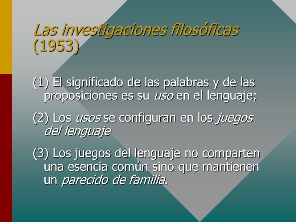 Las investigaciones filosóficas (1953) (1) El significado de las palabras y de las proposiciones es su uso en el lenguaje; (2) Los usos se configuran