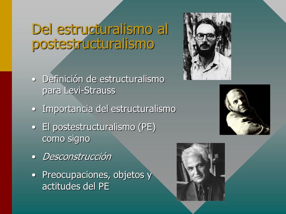 Del estructuralismo al postestructuralismo Definición de estructuralismo para Levi-StraussDefinición de estructuralismo para Levi-Strauss Importancia