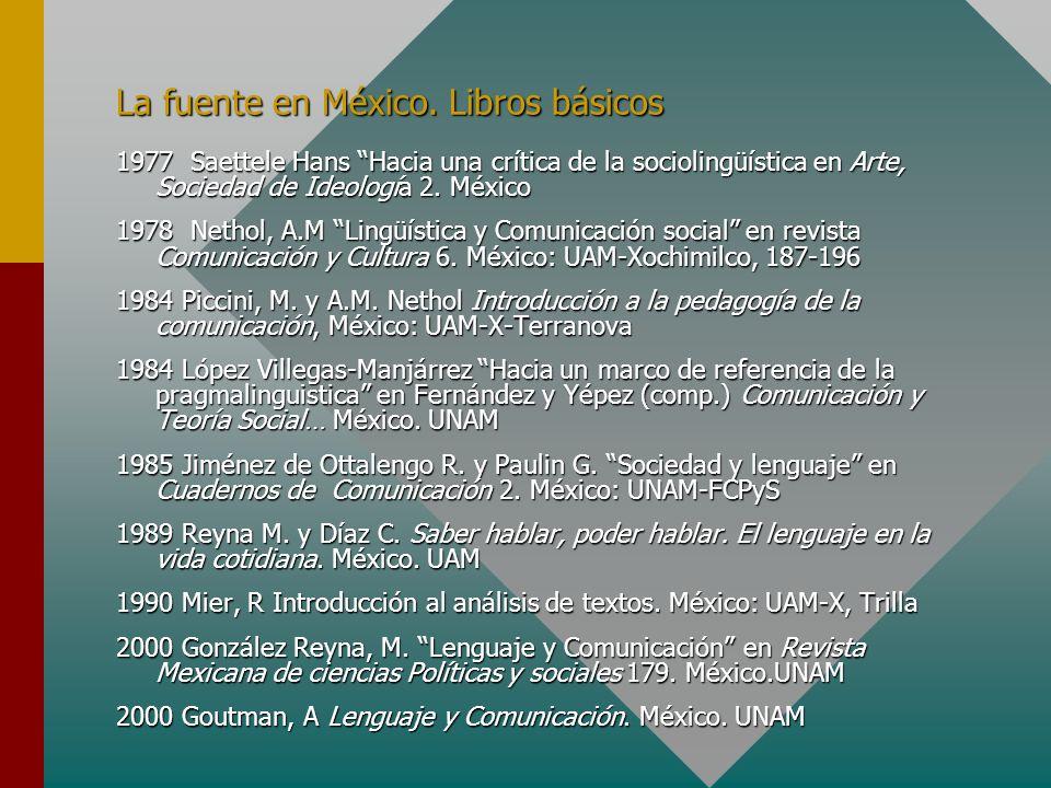 La fuente en México. Libros básicos 1977 Saettele Hans Hacia una crítica de la sociolingüística en Arte, Sociedad de Ideología 2. México 1978 Nethol,