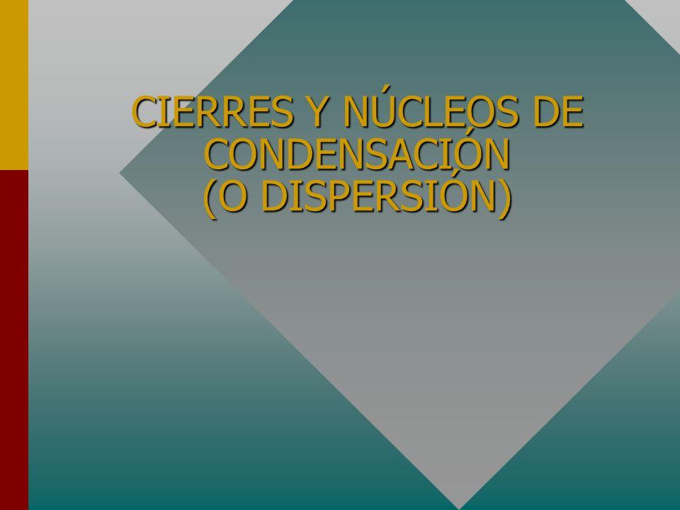 CIERRES Y NÚCLEOS DE CONDENSACIÓN (O DISPERSIÓN)