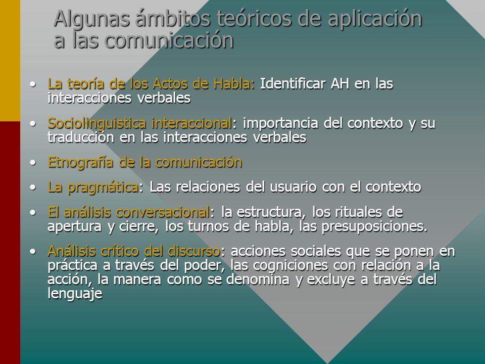 Algunas ámbitos teóricos de aplicación a las comunicación La teoría de los Actos de Habla: Identificar AH en las interacciones verbalesLa teoría de lo