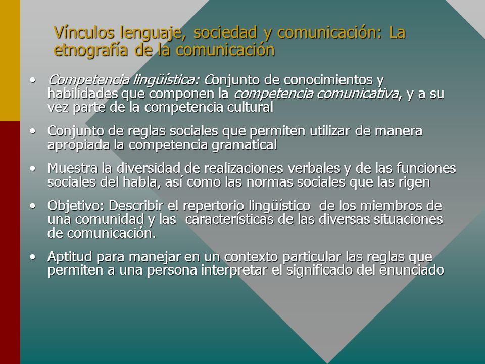Vínculos lenguaje, sociedad y comunicación: La etnografía de la comunicación Competencia lingüística: Conjunto de conocimientos y habilidades que comp