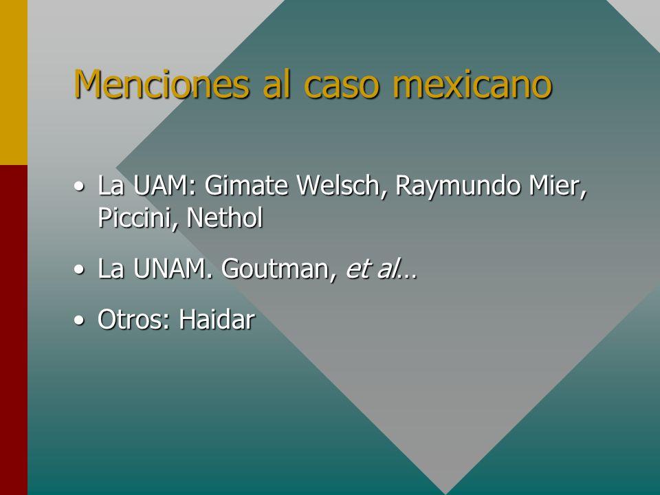 Menciones al caso mexicano La UAM: Gimate Welsch, Raymundo Mier, Piccini, NetholLa UAM: Gimate Welsch, Raymundo Mier, Piccini, Nethol La UNAM. Goutman