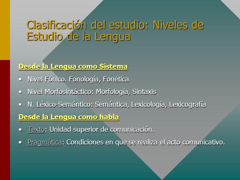 Clasificación del estudio: Niveles de Estudio de la Lengua Desde la Lengua como Sistema Nivel Fónico. Fonología, FonéticaNivel Fónico. Fonología, Foné