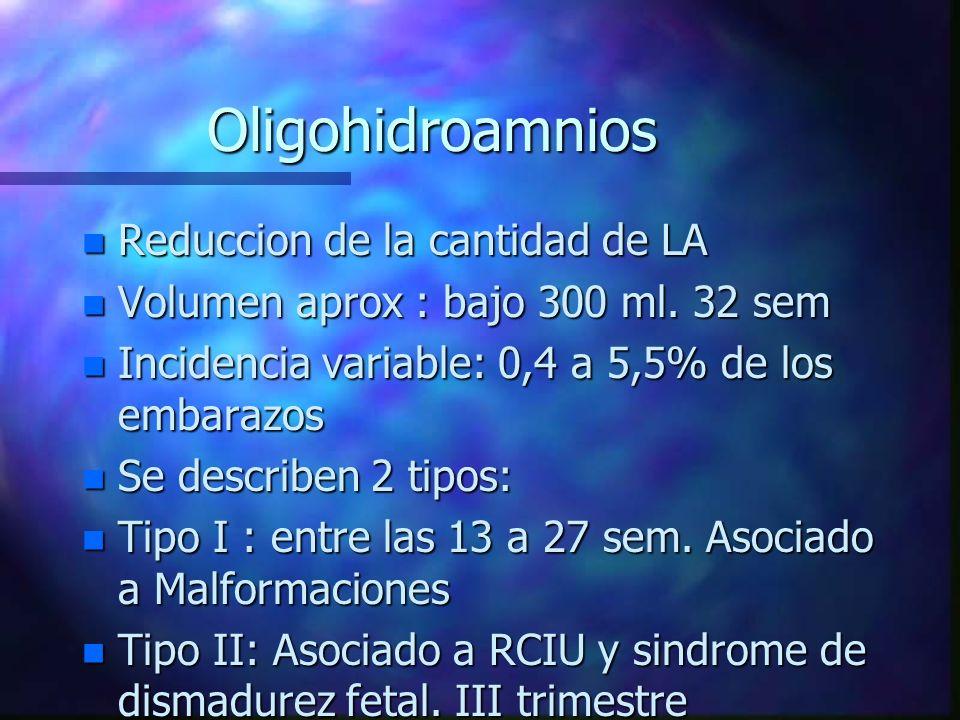 Oligohidroamnios n Reduccion de la cantidad de LA n Volumen aprox : bajo 300 ml. 32 sem n Incidencia variable: 0,4 a 5,5% de los embarazos n Se descri