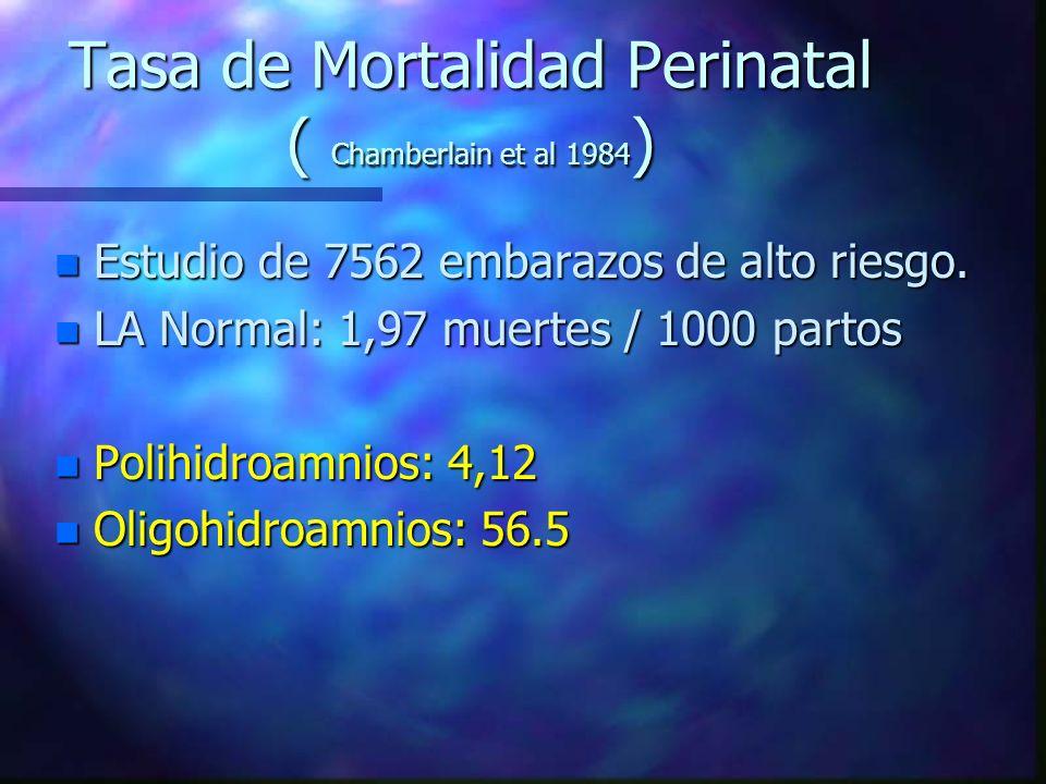 Tasa de Mortalidad Perinatal ( Chamberlain et al 1984 ) n Estudio de 7562 embarazos de alto riesgo. n LA Normal: 1,97 muertes / 1000 partos n Polihidr
