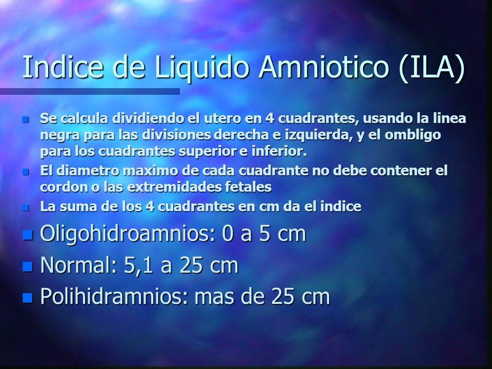 Indice de Liquido Amniotico (ILA) n Se calcula dividiendo el utero en 4 cuadrantes, usando la linea negra para las divisiones derecha e izquierda, y e