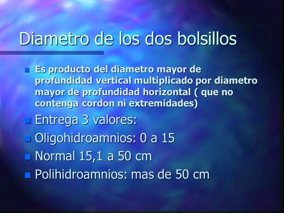 Diametro de los dos bolsillos n Es producto del diametro mayor de profundidad vertical multiplicado por diametro mayor de profundidad horizontal ( que