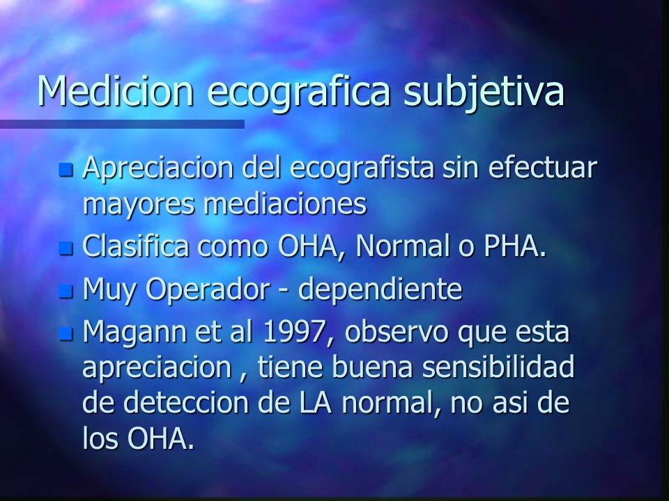 Medicion ecografica subjetiva n Apreciacion del ecografista sin efectuar mayores mediaciones n Clasifica como OHA, Normal o PHA. n Muy Operador - depe