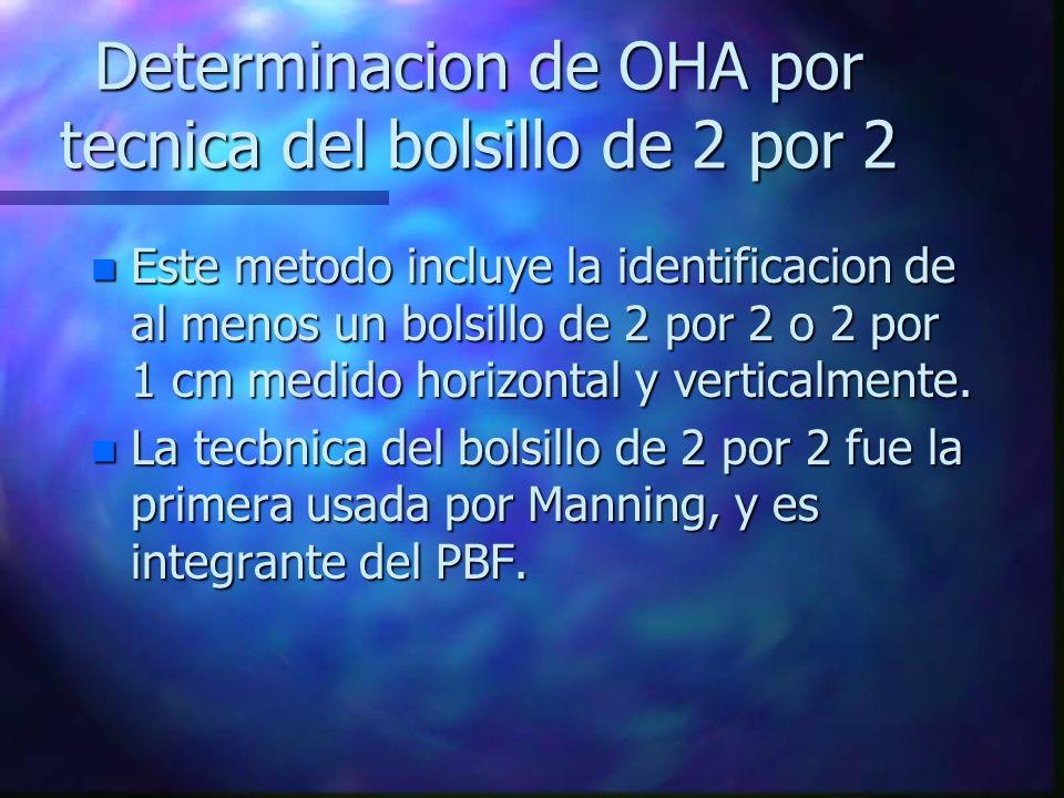 Determinacion de OHA por tecnica del bolsillo de 2 por 2 n Este metodo incluye la identificacion de al menos un bolsillo de 2 por 2 o 2 por 1 cm medid