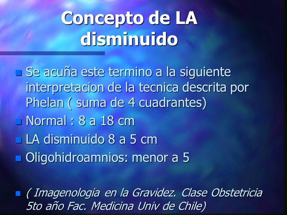 Concepto de LA disminuido n Se acuña este termino a la siguiente interpretacion de la tecnica descrita por Phelan ( suma de 4 cuadrantes) n Normal : 8