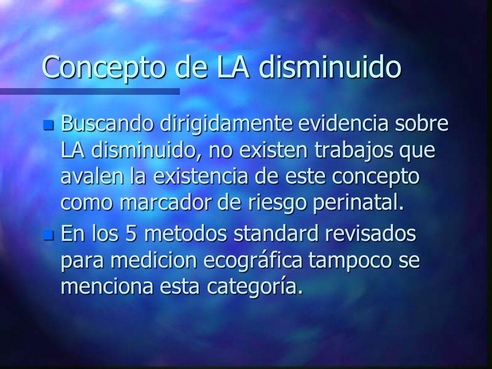Concepto de LA disminuido n Buscando dirigidamente evidencia sobre LA disminuido, no existen trabajos que avalen la existencia de este concepto como m