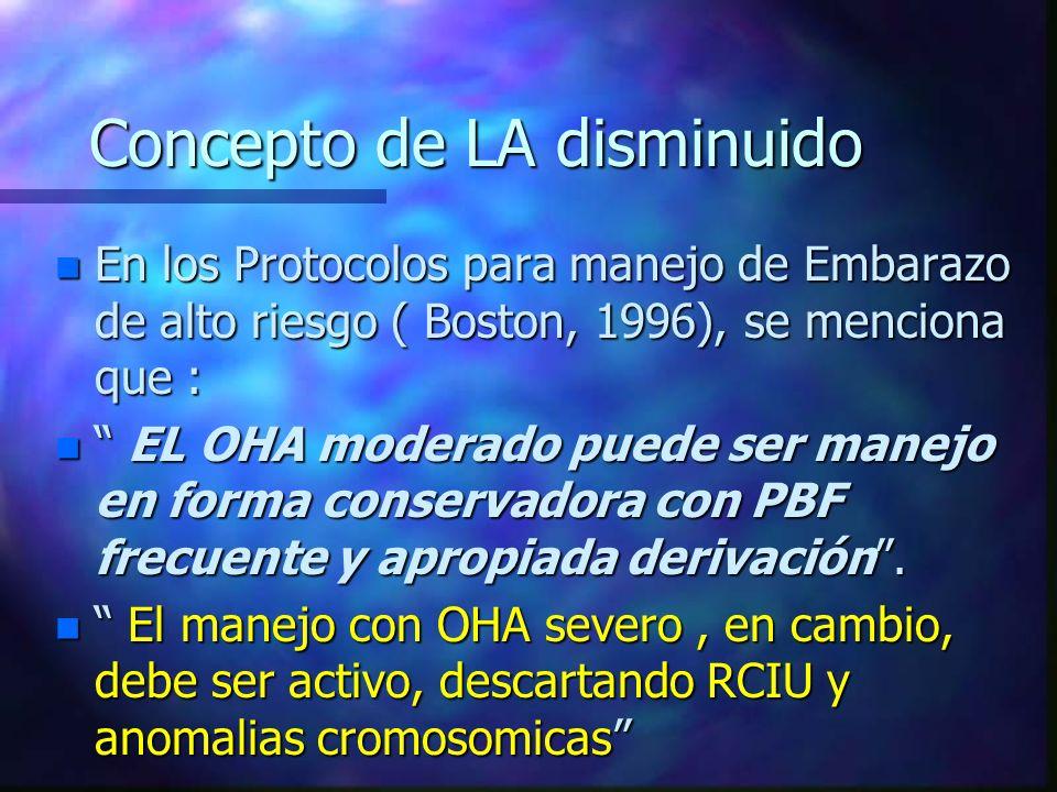 Concepto de LA disminuido n En los Protocolos para manejo de Embarazo de alto riesgo ( Boston, 1996), se menciona que : n EL OHA moderado puede ser ma