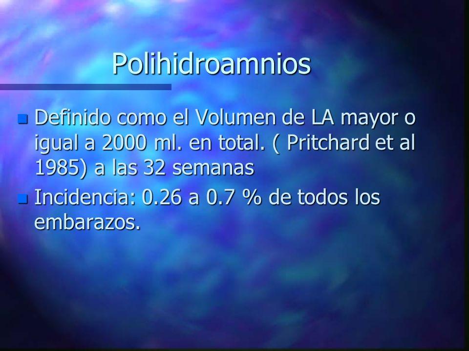 Polihidroamnios n Definido como el Volumen de LA mayor o igual a 2000 ml. en total. ( Pritchard et al 1985) a las 32 semanas n Incidencia: 0.26 a 0.7