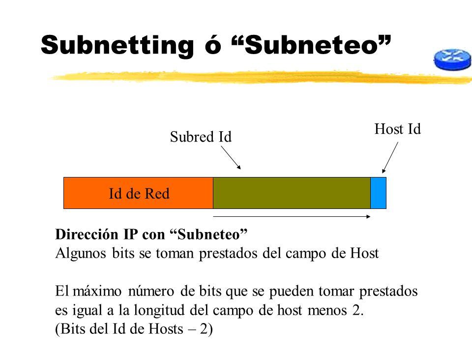 Subnetting ó Subneteo Id de Red Dirección IP con Subneteo Algunos bits se toman prestados del campo de Host El máximo número de bits que se pueden tom