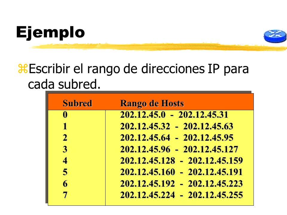 Ejemplo zEscribir el rango de direcciones IP para cada subred. SubredRango de Hosts 0202.12.45.0 - 202.12.45.31 1202.12.45.32 - 202.12.45.63 2202.12.4
