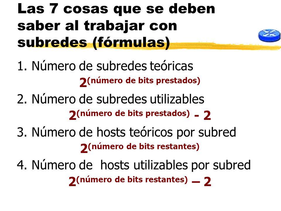 Las 7 cosas que se deben saber al trabajar con subredes (fórmulas) 1. Número de subredes teóricas 2 (número de bits prestados) 2. Número de subredes u