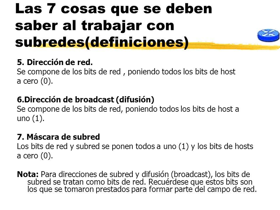 Las 7 cosas que se deben saber al trabajar con subredes(definiciones) 5. Dirección de red. Se compone de los bits de red, poniendo todos los bits de h