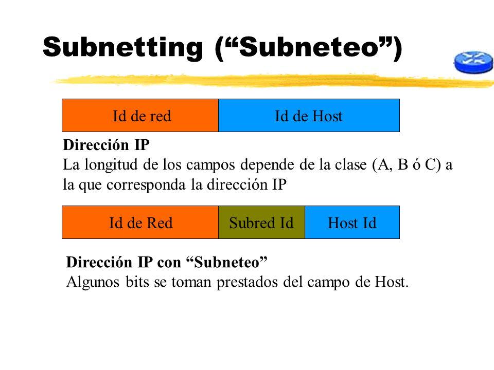 Subnetting (Subneteo) Id de redId de Host Host IdId de RedSubred Id Dirección IP La longitud de los campos depende de la clase (A, B ó C) a la que cor