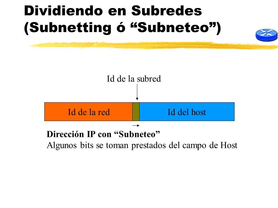 Dividiendo en Subredes (Subnetting ó Subneteo) Id del hostId de la red Dirección IP con Subneteo Algunos bits se toman prestados del campo de Host Id