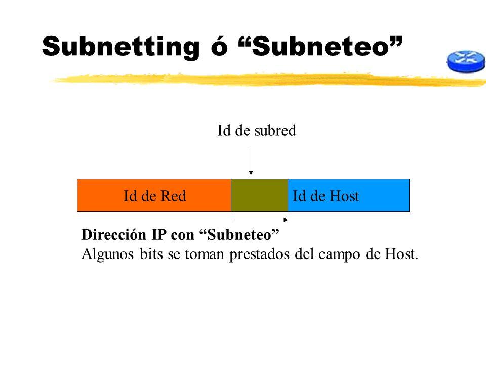 Subnetting ó Subneteo Id de HostId de Red Dirección IP con Subneteo Algunos bits se toman prestados del campo de Host. Id de subred