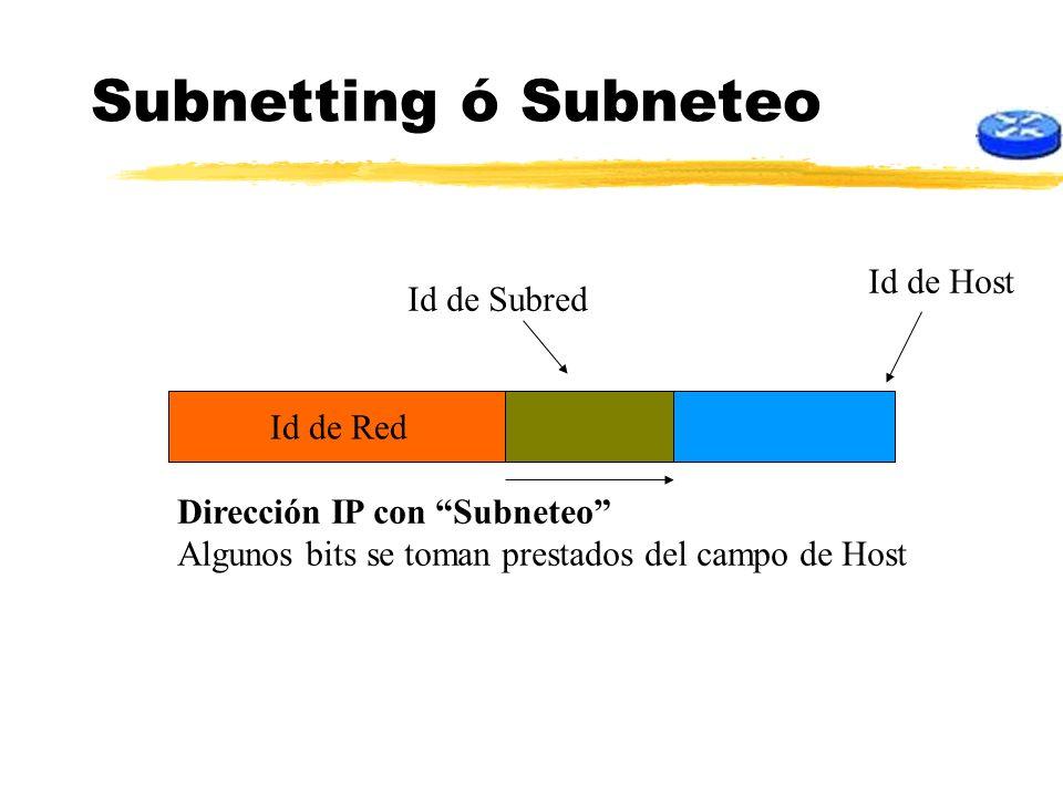 Subnetting ó Subneteo Id de Red Dirección IP con Subneteo Algunos bits se toman prestados del campo de Host Id de subred Id de Host