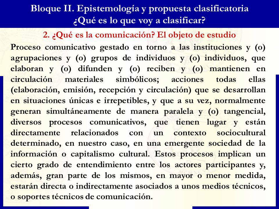 Bloque II. Epistemología y propuesta clasificatoria ¿Qué es lo que voy a clasificar? 2. ¿Qué es la comunicación? El objeto de estudio Proceso comunica