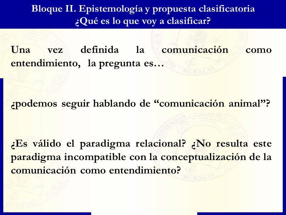 Bloque II. Epistemología y propuesta clasificatoria ¿Qué es lo que voy a clasificar? Una vez definida la comunicación como entendimiento, la pregunta