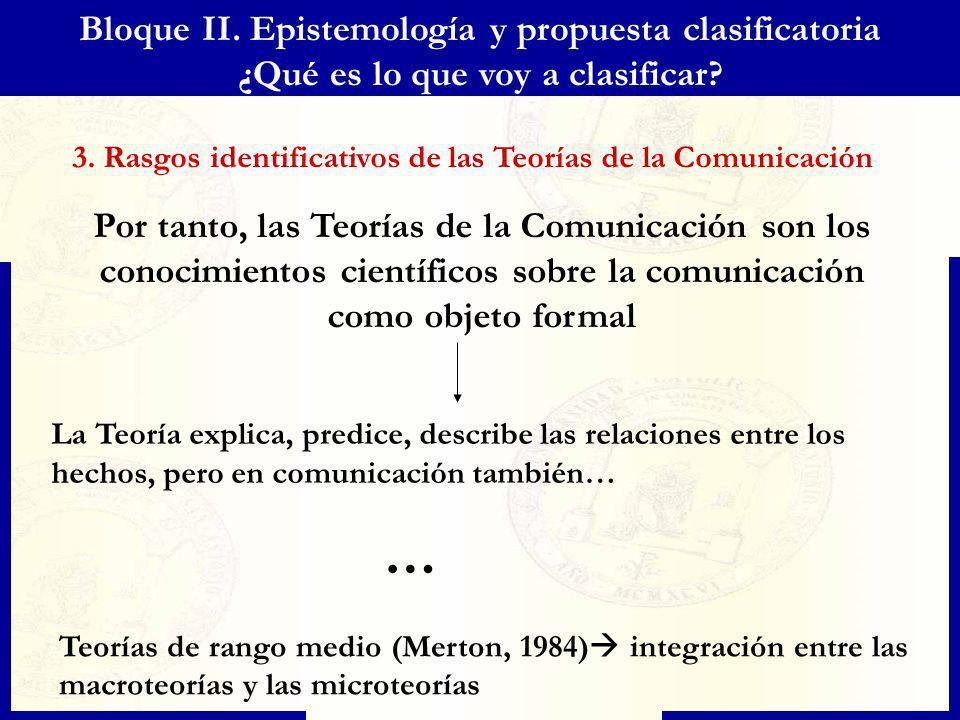 Bloque II. Epistemología y propuesta clasificatoria ¿Qué es lo que voy a clasificar? Por tanto, las Teorías de la Comunicación son los conocimientos c