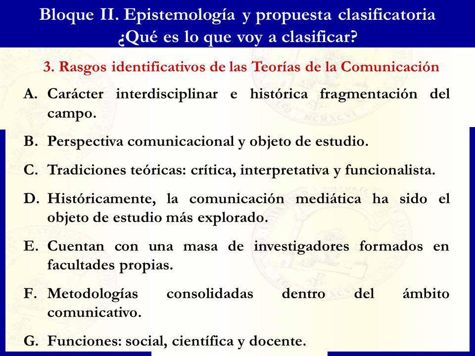 Bloque II. Epistemología y propuesta clasificatoria ¿Qué es lo que voy a clasificar? A.Carácter interdisciplinar e histórica fragmentación del campo.